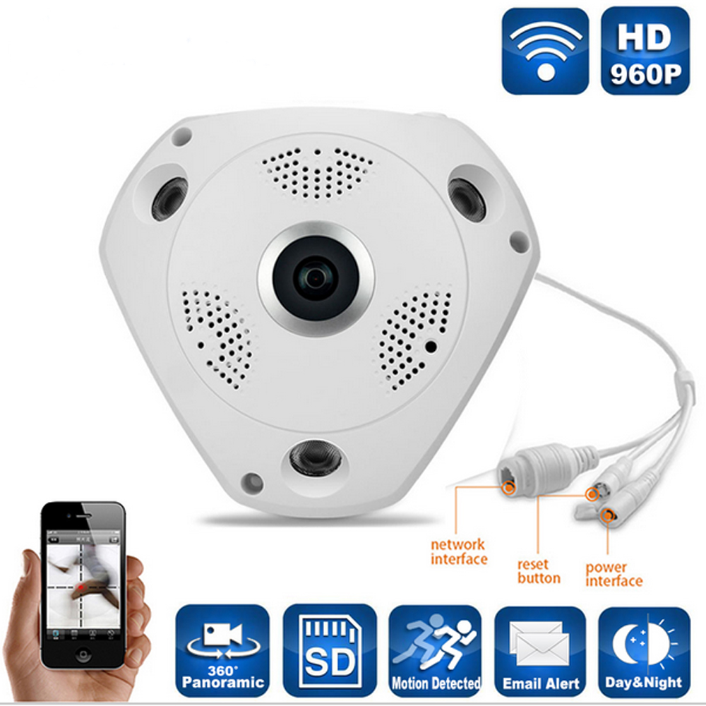 HD 1080P Panoramic 360 Degree IP Indoor Camera PAL NTSC Home CCTV Cameras Infrared Wifi Network Wireless Security Surveillance pal ntsc ccd 16mm ip camera 960p infrared network security surveillance outdoor waterproof cctv camera indoor bullet cameras