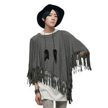 Summer Men's T-shirt Tassels Non Mainstream Yuppie Soviet Romantic Cloak Men Stage Loaded Bat Man T Shirt Wholesales