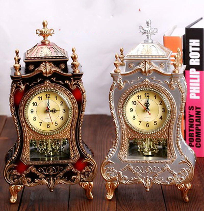 Vintage Desk Alarm Clocks Classical Royalty Living Room TV Cabinet Desk Imperial Furnishing Creative Sit Pendulum Retro Clock