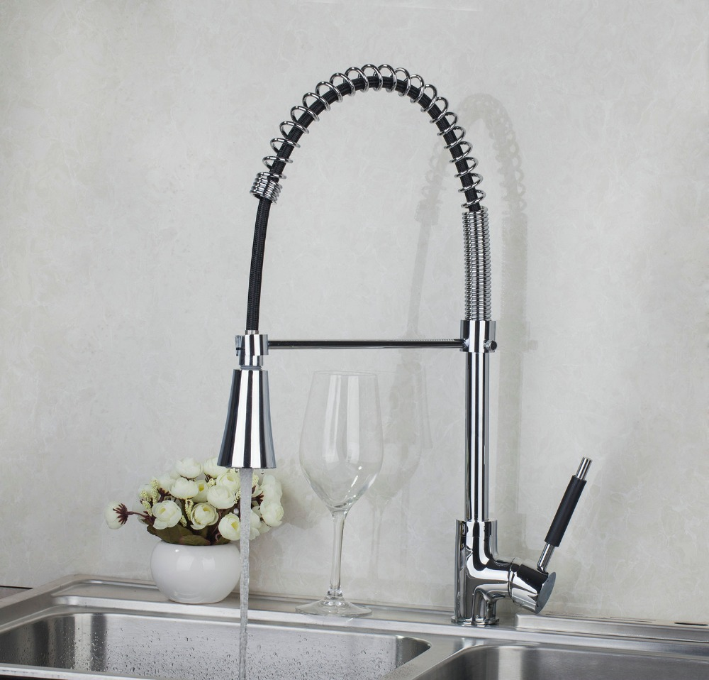 540mm 8538-1/4 Chrome Single Handle Kitchen Pull Out Down Brass Swivel With Push Button Vessel Sink Mixer Tap Kitchen Faucet kitchen chrome plated brass faucet single handle pull out pull down sink mixer hot and cold tap modern design