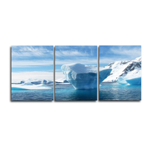 Winter Scenery Ice Sky Modern Wall Art 3 Panel Vintage Canvas Oil Painting Poster for Home Living Room Decor No Frame