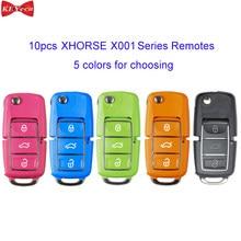 10 pces xhorse x001 série b5 tipo universal remoto chave fob 3btn para vvdi ferramenta chave vermelho/azul/verde/laranja/preto