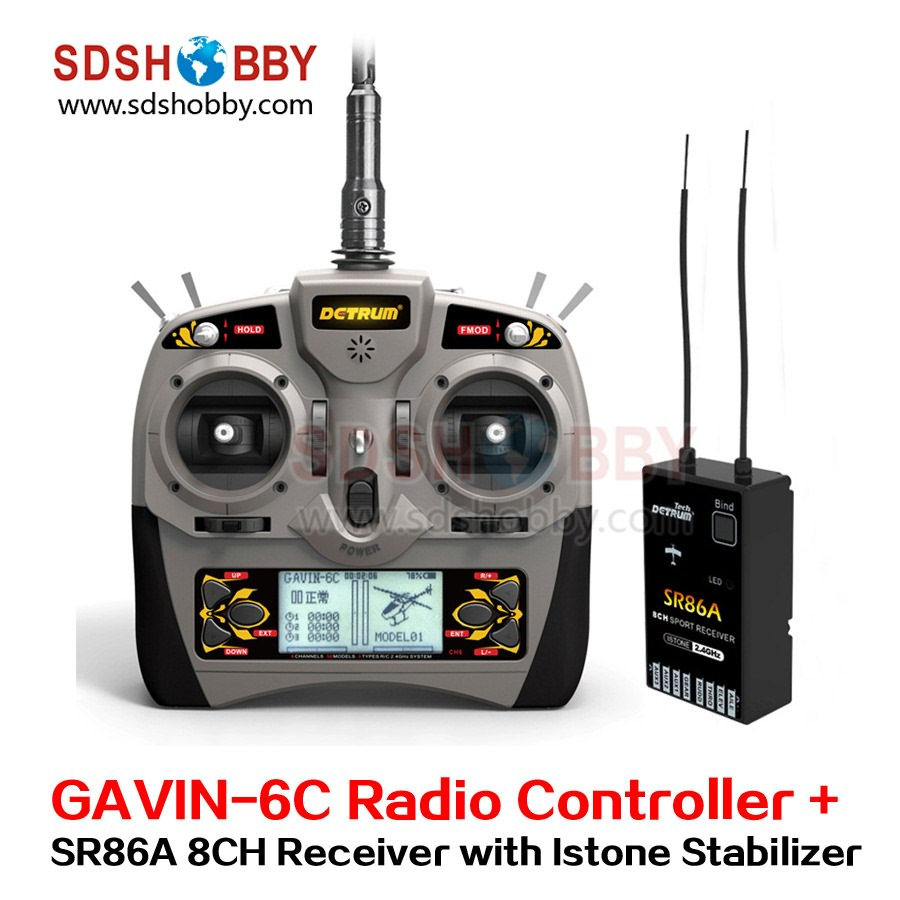 ФОТО Detrum GAVIN-6C Transmitter Set Remote Controller with SR86A Istone Stabilizer 8CH Receiver for RC Fixed Wing Airplane