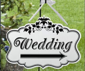 Easter Wooden Arrow Hanging Decoration Wedding Sign (White)