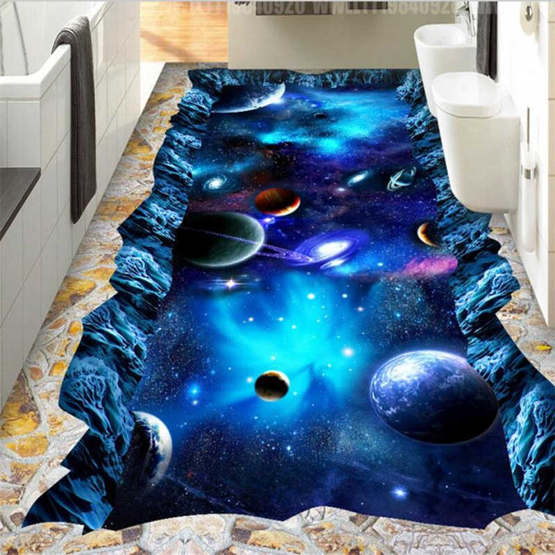 beibehang Custom floor painting 3d photo decoration painting cosmic sky 3D living room three-dimensional painting 3d flooring