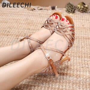 Image 5 - DILEECHI zapatos de baile latino con diamantes de imitación para mujer, zapatos de salón de Salsa, Cuba, tacón alto de 9cm, Software de Vals, gran oferta, bronce piel