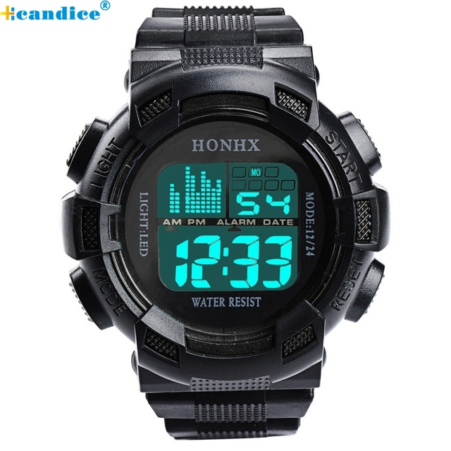 Men Sports Watches Fashion Wristwatch Stainless Steel LED Digital Clock Date Ala
