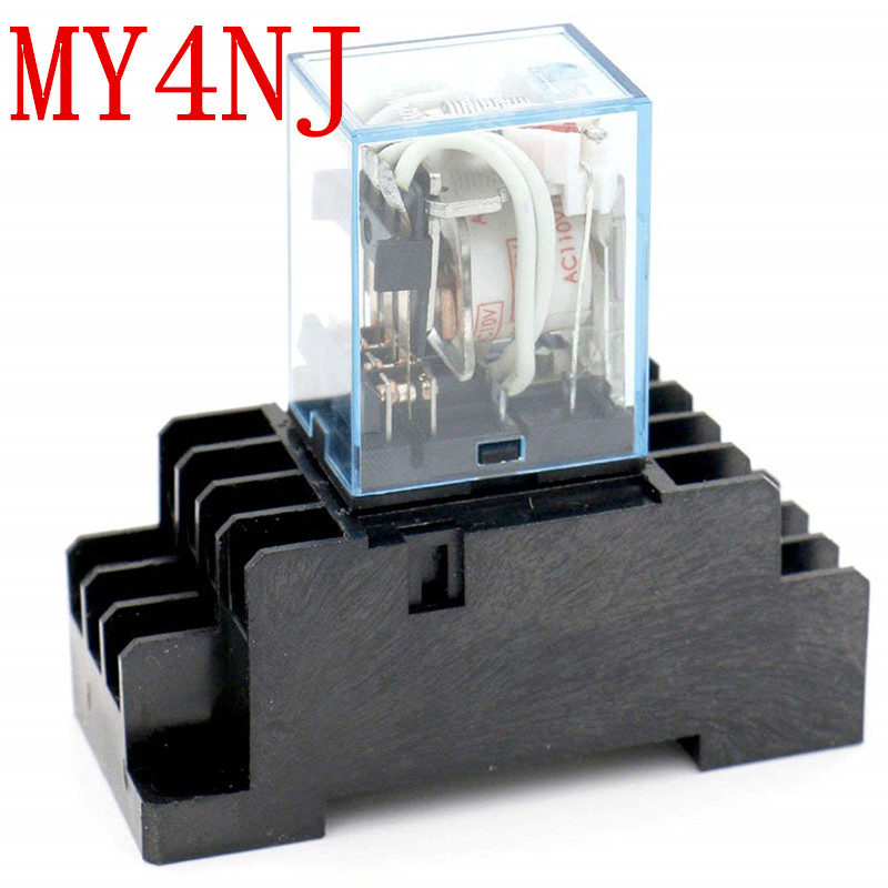 1set MY4NJ DC 12V Coil 4NO 4NC Green LED Indicator Power Relay DIN Rail 14 Pin + Base Mini relay relay time