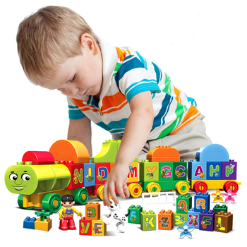 75pcs Duplos Large Size Letter Train Building Blocks DIY Educational Letter Bricks Compatible Duplo Kids Toys For Children Gift 50pcs large particles numbers train building blocks bricks educational babycity toys compatible with duplo diy