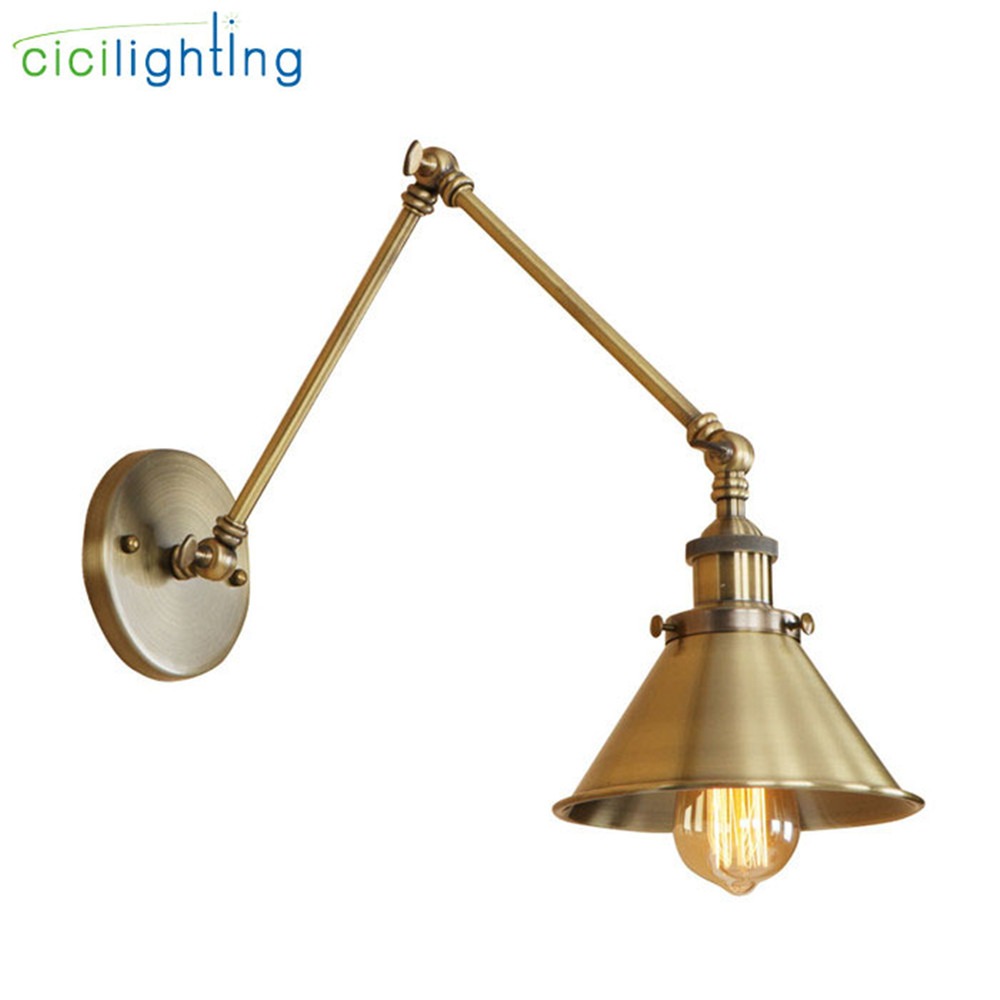 Vintage bronze E27 wall light antique 2 swing arm adjustable wall lamp bedside room bedroom wall lamps arts arandelas para paredVintage bronze E27 wall light antique 2 swing arm adjustable wall lamp bedside room bedroom wall lamps arts arandelas para pared