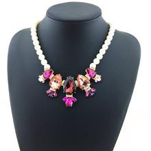 Luxury Charm Women Jewelry Pearl Fashion Necklace Colorful Charm Crystal Necklaces & Pendants Simulated Pearl Statement Necklace