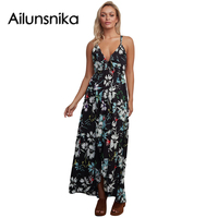 Ailunsinika 2017 Women Summer Beach Boho Maxi Dress Floral Chiffon Spaghetti Strap Long Dresses Sundress Vestidos