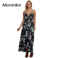 Ailunsinika 2017 Women Summer Beach Boho Maxi Dress Floral Chiffon Spaghetti Strap Long Dresses Sundress Vestidos