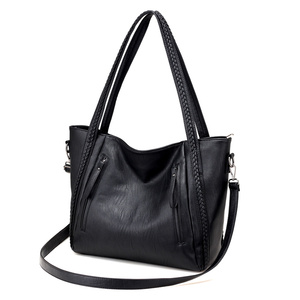 Image 2 - 2020 brand high quality soft leather large pocket casual handbag womens handbag shoulder bag large capacity handbag