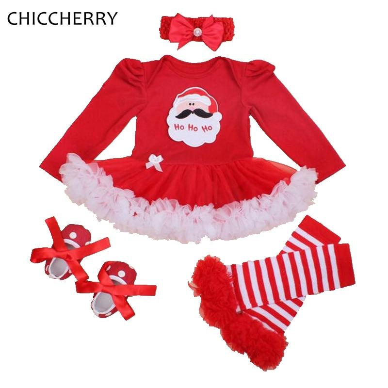 Santa Claus Christmas Costume Baby Girl Clothes Set Long Sleeve Lace Romper Dress Headband Leg Warmers Shoes Vetement Bebe Fille crochet santa claus baby photography prop costume set