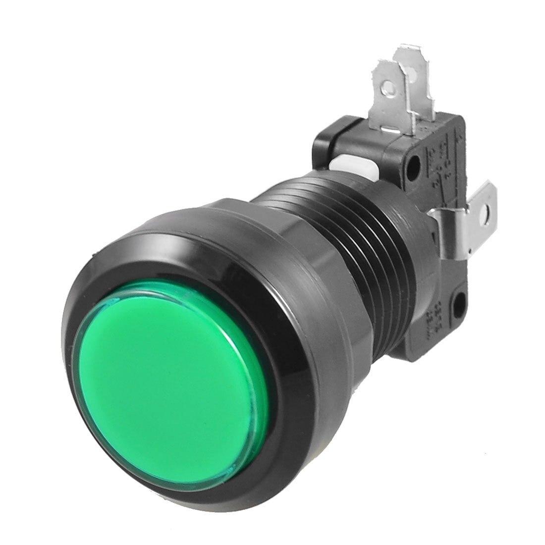 CNIM Caliente Lámpara LED Verde 24mm Dia Push Button Ronda w Interruptor de Lími