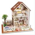 Departamento de Paris Kits & móveis de madeira Casa De Bonecas Em Miniatura 3D Mostrar Fotos & Sound control Swich LED & Music box