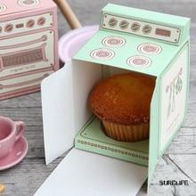 Caja de regalo impresa con horno Vintage de 50 uds, caja de cupcake, molde para pastel cajita de recordatorio para fiestas