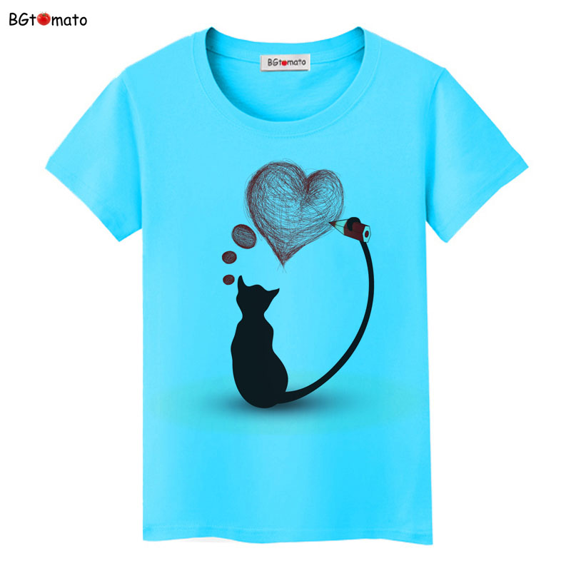 BGtomato super cool elegant cat t shirt women hot sale clothes lovely tshirt fashion top tees t-shirt Brand kawaii shirt 8