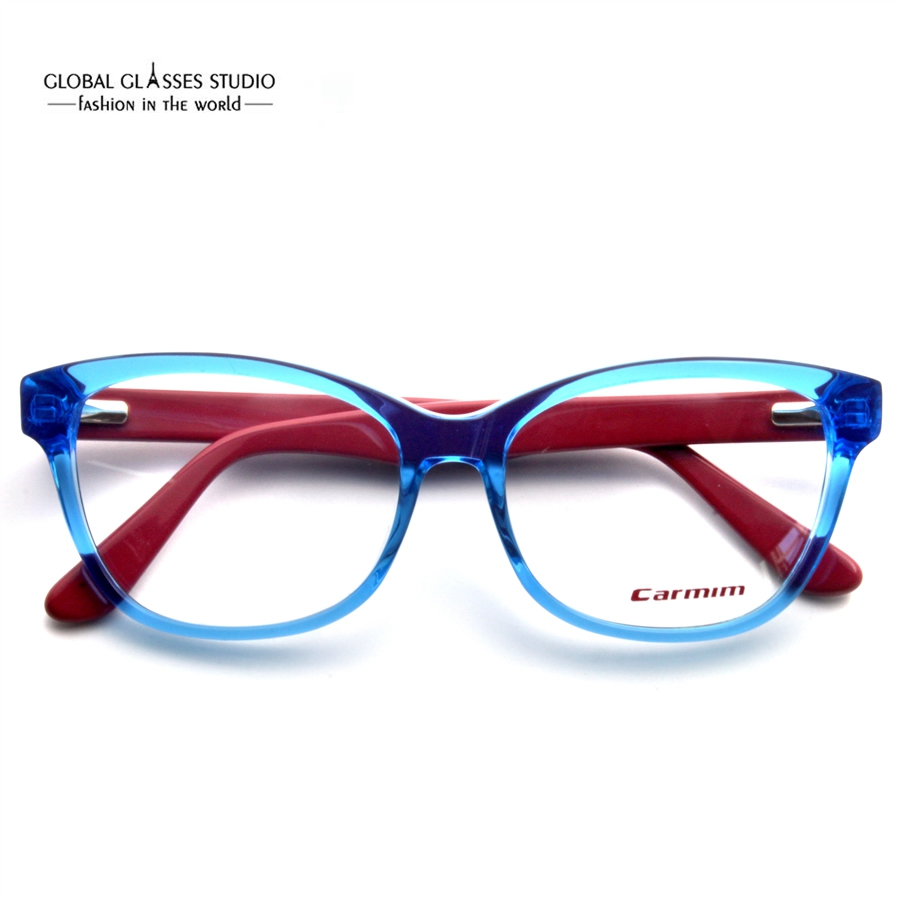 95d24d4931 New Crystal Blue Dark Red Cute Men Women Fashion Design Glasses Frame Clean  lens Acetate Eyeglasses Optical Eyewear 51BG24010-in Eyewear Frames from  Apparel ...