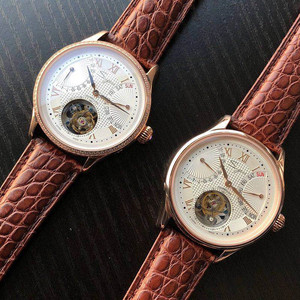 Image 5 - יוקרה ST8004 Tourbillon שעון גברים תנין עור לוח שנה תצוגת שבוע Mens יד Winding מכאני שעונים 5ATM עמיד למים