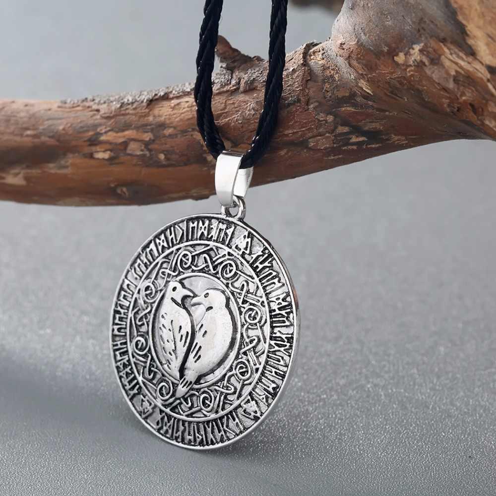CHENGXUN Retro Men Norse Vikings Mặt Dây Chuyền Vòng Cổ Valknut Raven RUNE PENDANT Knot Amulet Pendant Necklace Bắc Âu Talisman