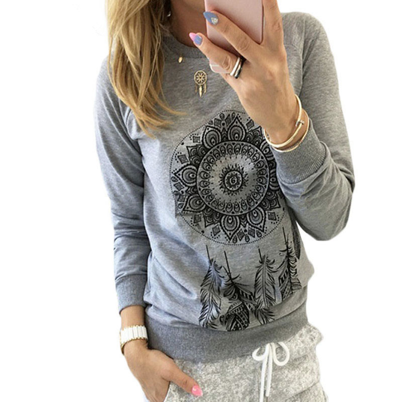 2019 Autumn Women Sweatshirt Casual Long Sleeve O Neck Print Pullover Jumper Hoodies Sweatshirts Fashion Tops Sudaderas Mujer in T Shirts from Women 39 s Clothing