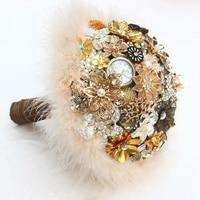 Brown & Gold Vintage Bridal brooch bouquet Feathers decorated wedding bouquets Bride bouquet