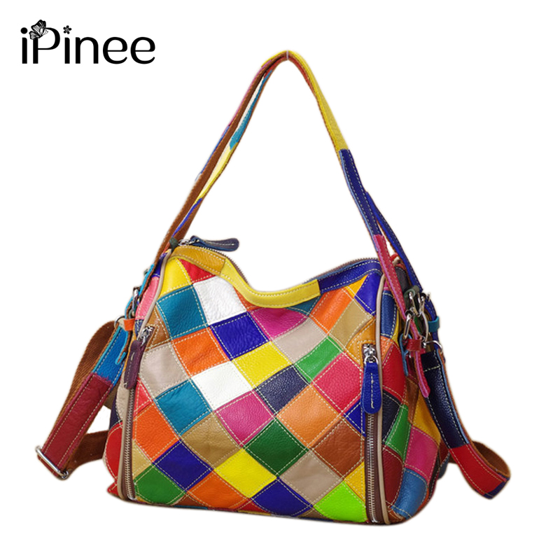 iPinee Personality Fashion Women Messenger Bags Famous Brand Color Block Bag Genuine Leather Cowhide Handbags Popular
