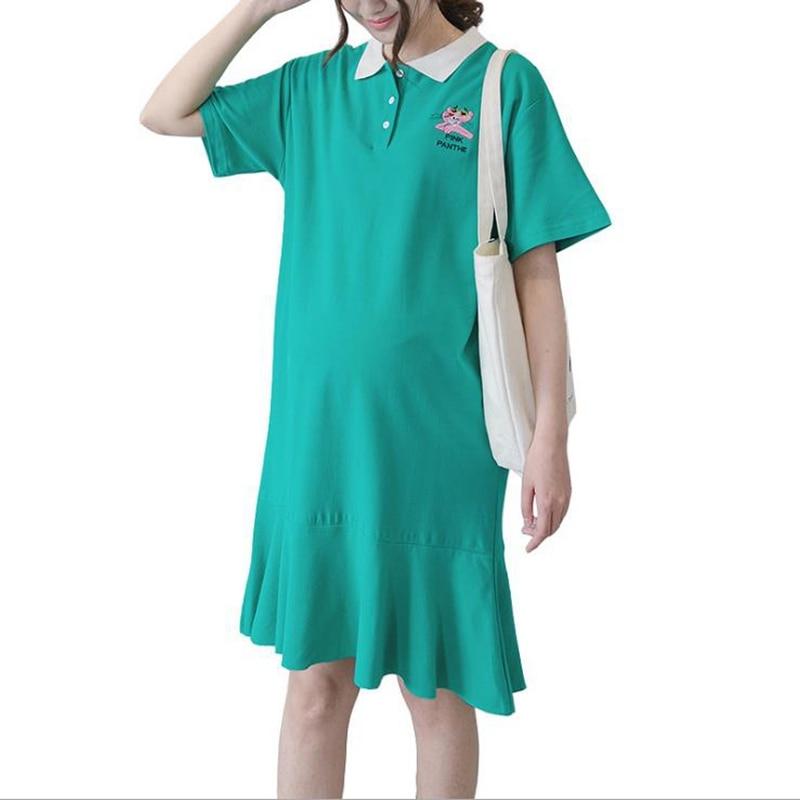 Cotton Pregnant woman's dress Summer Short sleeved pregnant dress Mid-length dress Woman vestido maternidad maternity dresses женское платье 2015 desigual vestido summer dress