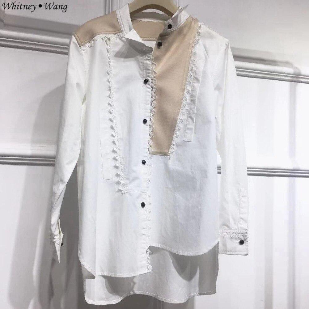 Whitney Wang 2019 Spring Autumn Fashion Streetwear Ribbons Bandage Blouse Women Blusas Shirt Tops Back To Search Resultswomen's Clothing