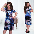 2017 Fashion Brand Women Dress Plus Size 6XL Vestidos O Neck Print Flower Straight Casual Summer Knee Length Oversized Dress
