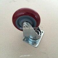 Burgundy Hand Trolley Part Plastic Core PVC Single Wheel Flat Plate Swivel Caster 4 100mm