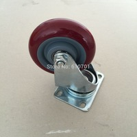 Burgundy Hand Trolley Part Plastic Core PVC Single Wheel Flat Plate Swivel Caster 4 100mm