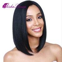 Синтетические волосы на кружеве человеческих волос парики короткие боб парики бразильского Волосы remy прямо на черный Для женщин отбеленны