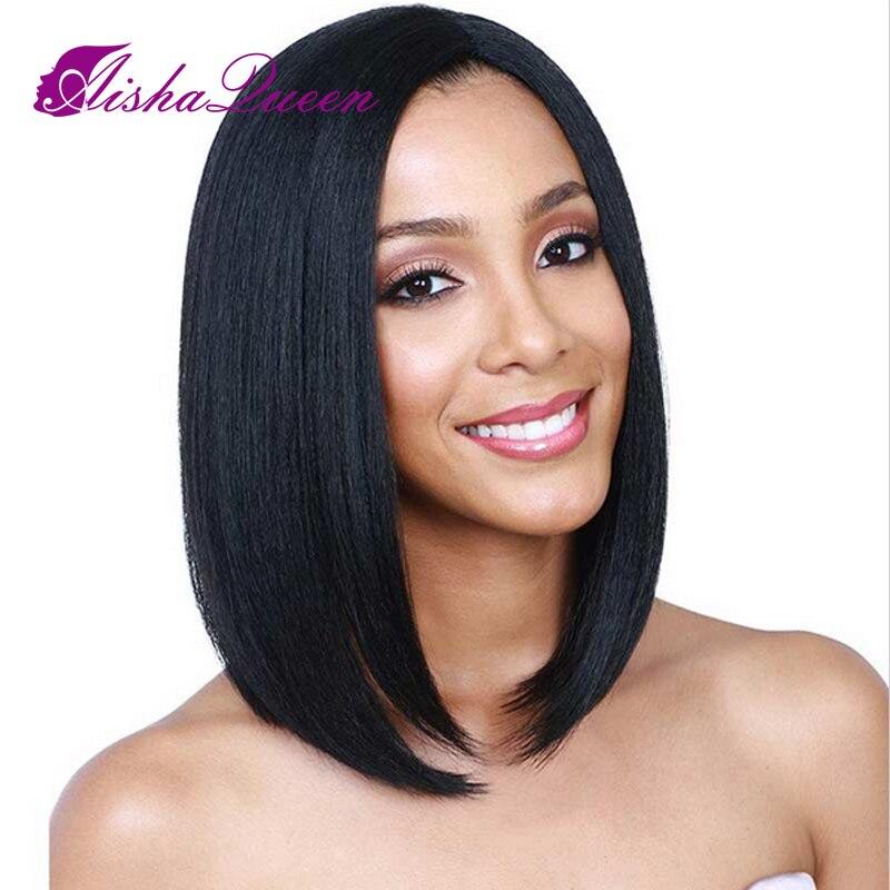 Синтетические волосы на кружеве человеческих волос парики короткие боб парики бразильского Волосы remy прямо на черный Для женщин отбеленны...