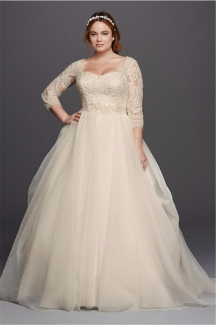 Size 2 Wedding Dresses For  : Buy sweetheart plus size organza sleeves wedding dress