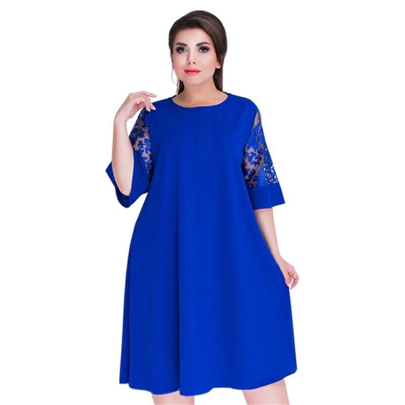 Newest Fashion Loose Dresses Women Flare Short Sleeve Lace Trim Summer Dress Elegant O-neck long dress streetwear plus size