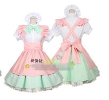 2017 New Cute Kawaii Maid Cosplay Costume Housewife Women's Lolita Dress Vintage Ball Gown for Halloween Party