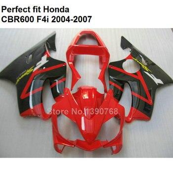 ABS plastic fairing for Honda CBR 600 F4i 04 05 06 07 black red fairings kit CBR600F4i 2004-2007 OL145