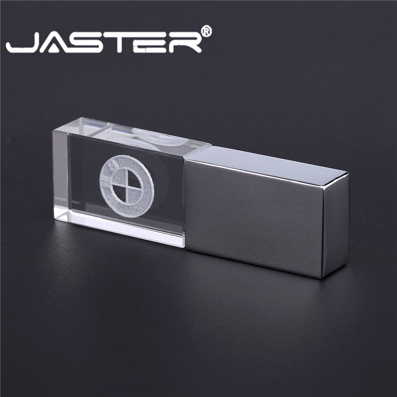 JASTER BMW Crystal + Metal USB Flash Drive Pendrive 4GB 8GB 16GB 32GB 64GB 128GB External Storage Memory Stick U Disk