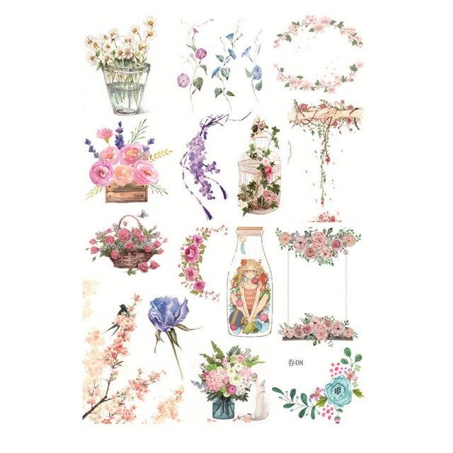 Kawaii Hand Spring Flowers Album Decorations Stickers Diy Manual