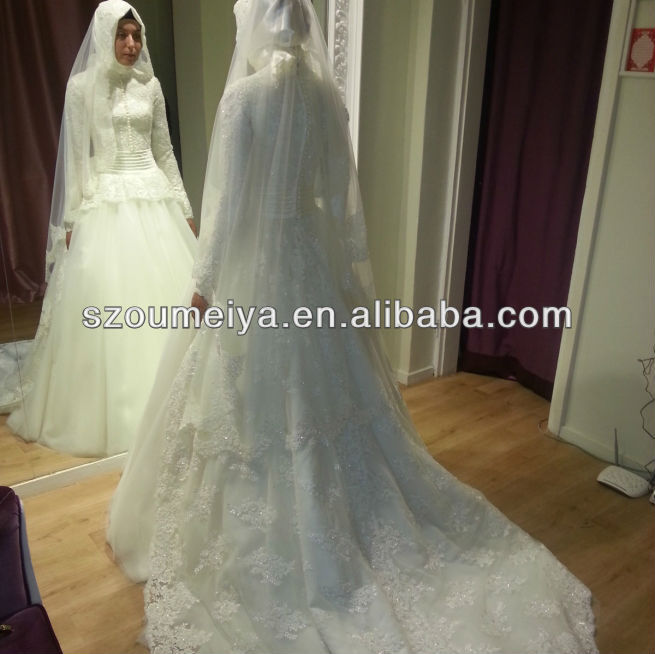 Free Shipping Oumeiya ONW564 with font b hijab b font and veil high neck long sleeve