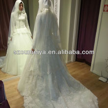 Free Shipping Oumeiya ONW564 with hijab and veil high neck long sleeve muslim bridal wedding dress 2016