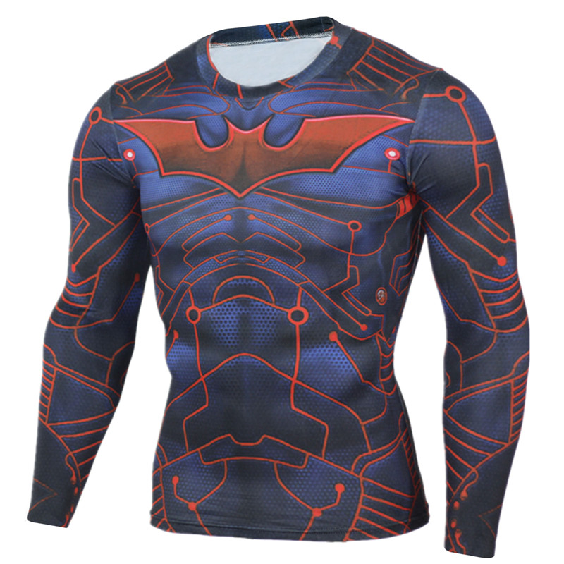 Mens compression shirt batman long sleeve 3d print lycra for Men s dobby shirt