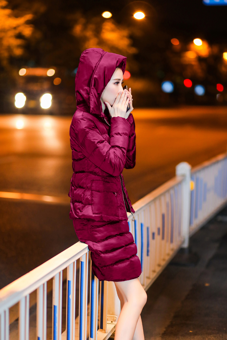 SexeMara Real Shot 2018 Winter New Down Cotton Suit Fashion Suit Female Small Fresh Warm Hooded Two-Piece Elegant Dress (18)