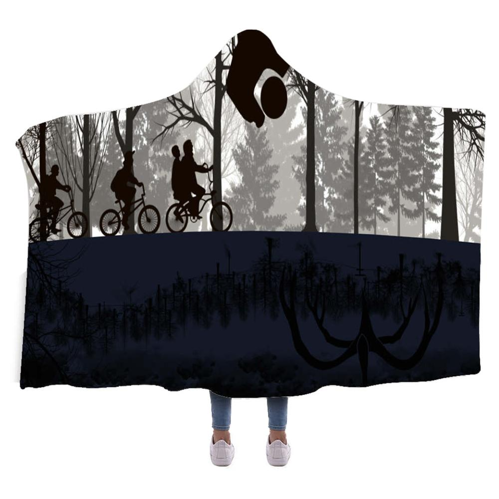 Oversized Stranger Things Hooded Sherpa Blanket 3D Soft Printed Cloak Blanket