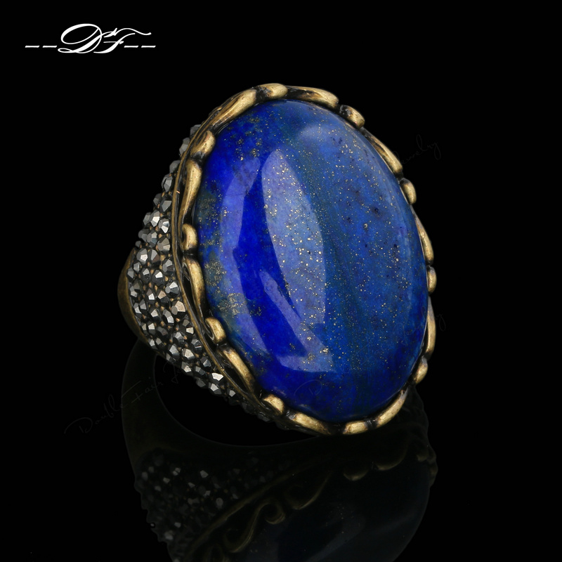 Semi-precious Stone Lapis Lazuli Finger Rings Antique Gold/Silver Color Fashion Vintage Punk Jewelry anel Wholesale DFR392M