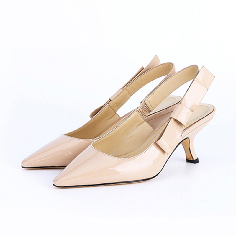 Elegant Slingback Black Red Nude Patent Leather Women Pumps Fashion Pointed Toe Low Heel Party Dress Pumps Casual Women Shoes elegant women s pumps with suede and slingback design