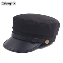 XdanqinX Unisex British Retro Army Military Hats Women's Elegant Trend Flat Cap Simple Vintage Visor Hat For Men Dad Brand Caps men visor cap security guard hat army caps men military police hats for cosplay halloween christmas festival gift